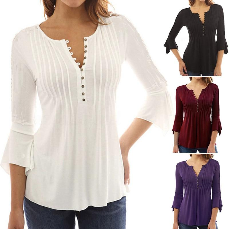 2018 Women Ruffles Blouses Tunic Tops Vintage 3/4 Sleeve Office Ladies Shirtsrricdress-rricdress