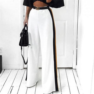 New Fashion Women High Waist Wide Leg Long Pants Casual Side Striperricdress-rricdress