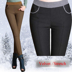 winter women warm pants Plus size 4XL thick fleece ladies pencil pantsrricdress-rricdress