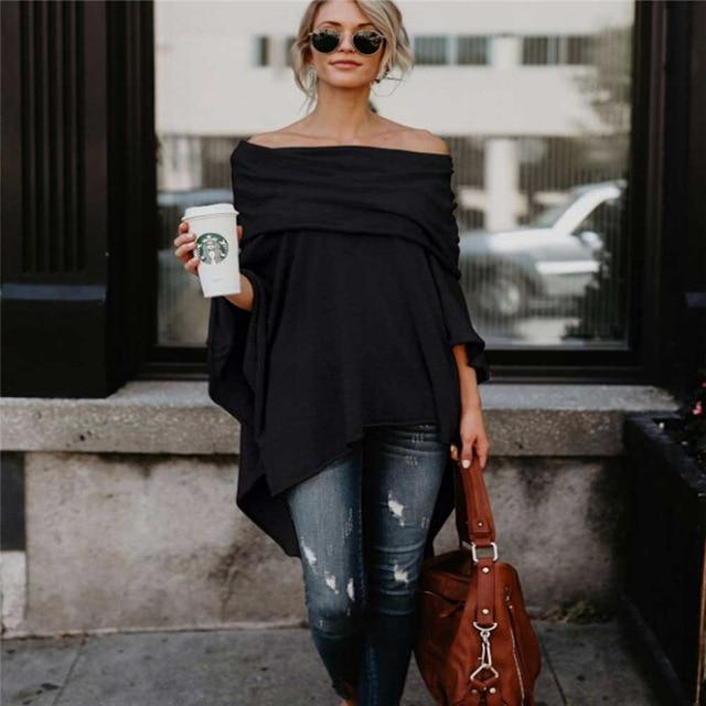 Womens Batwing Sleeve Off Shoulder Irregular Design Blouse Oversized Ladies Jumper Pulloverrricdress-rricdress