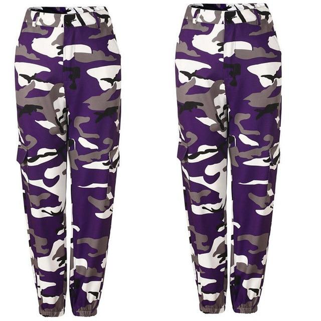 Orange Camouflage Pants Women Sweatpants Purple Pink Camo Pants Pantalon Femme Trousersrricdress-rricdress