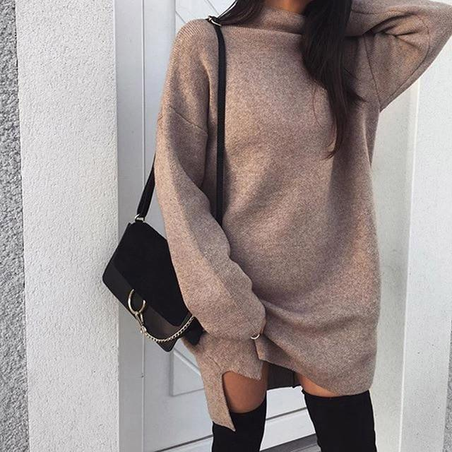 Women Autumn Knit Sweater Dress 2018 Fashion Turtleneck Side Split Elasticrricdress-rricdress