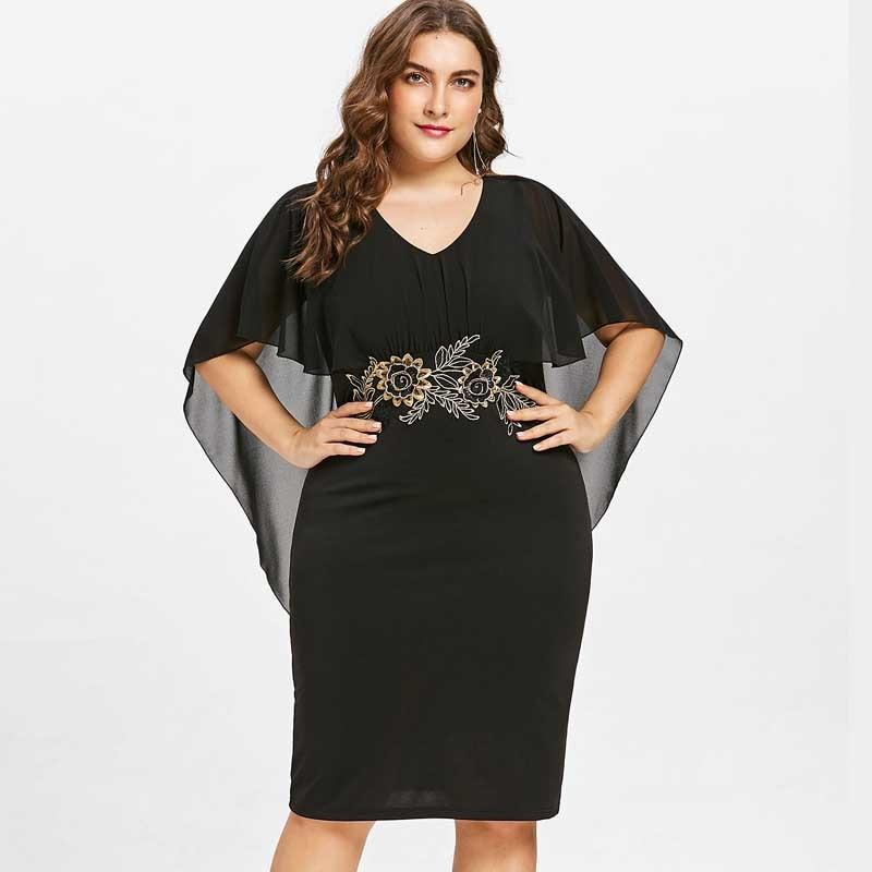 Gamiss Women Fashions Plus Size 5XL Embroidery Capelet Semi Sheer V Neckrricdress-rricdress