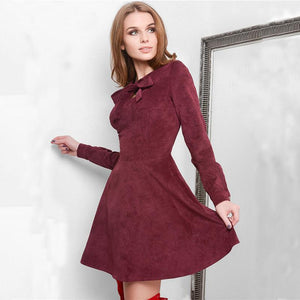 2018 New Autumn winter Velvet warm dress Women Elegant Vintage Long sleeverricdress-rricdress