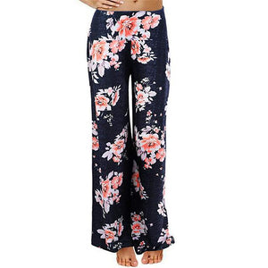Women's Daily Casual Loose Print Stretchy Wide Leg Palazzo Lounge Long Pantsrricdress-rricdress