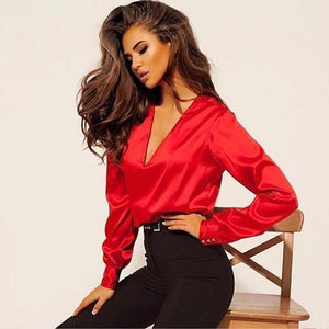 2018 autumn ladies loose shirts sexy deep V-neck fashion party women's blouserricdress-rricdress