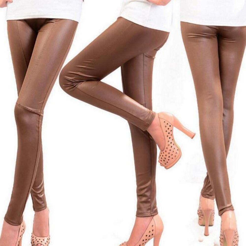 Women Bodycon PU Leather Pants Khaki Brown Black Trousers Lady Girls Elasticrricdress-rricdress