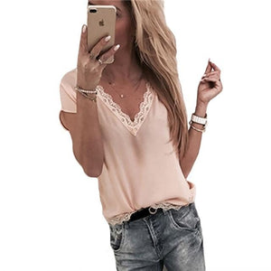 Lace patchwork blouse fashion 2018 women short sleeve V Neck loose casualrricdress-rricdress