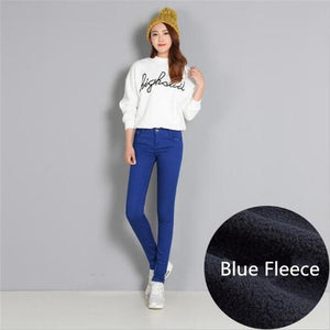 Women Winter Warm Pants Thickening Fleece Skinny Pencil Pants Female Stretchrricdress-rricdress