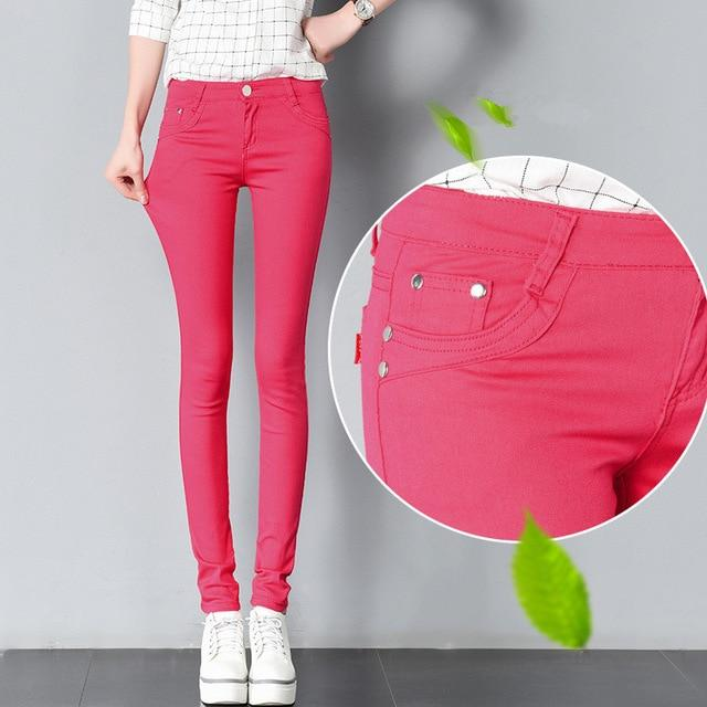 Women Pants Candy Jeans 2018 Spring Fall Pencil Pants Slim Casualrricdress-rricdress