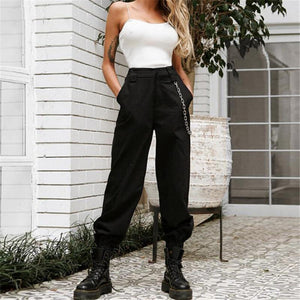 Elegant Streetwear Cargo Pants Women Casual High Waist Loose Trousers Ladies Solidrricdress-rricdress