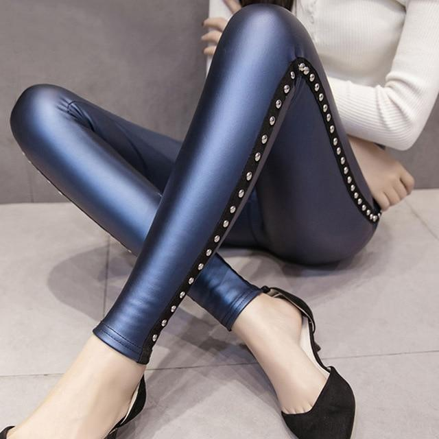 fashion women pants 2018 Winter Velvet women's pants PU Leather leggings Womenrricdress-rricdress