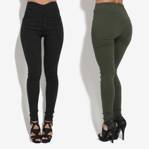 High Waist Leggings Women's Pencil Pants Single Breasted Vintage Trousers For Womenrricdress-rricdress