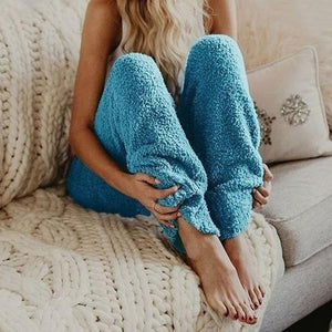 Oversized Fuzzy Fleece Women Pants Elastic Waist Loose Casual Autumn Winter Pantsrricdress-rricdress