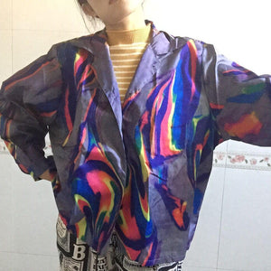Plus Size Summer Sun Blouse Harajuku Gradient Tie Dye Print Cover Uprricdress-rricdress
