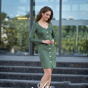 2018 autumn and winter velvet dress women's long-sleeved casual button mini tightrricdress-rricdress