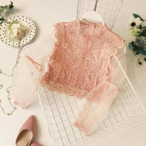 New Arrival Ladies Mesh Lace Hook Flower Lantern Sleeve Loose Retro Shortrricdress-rricdress