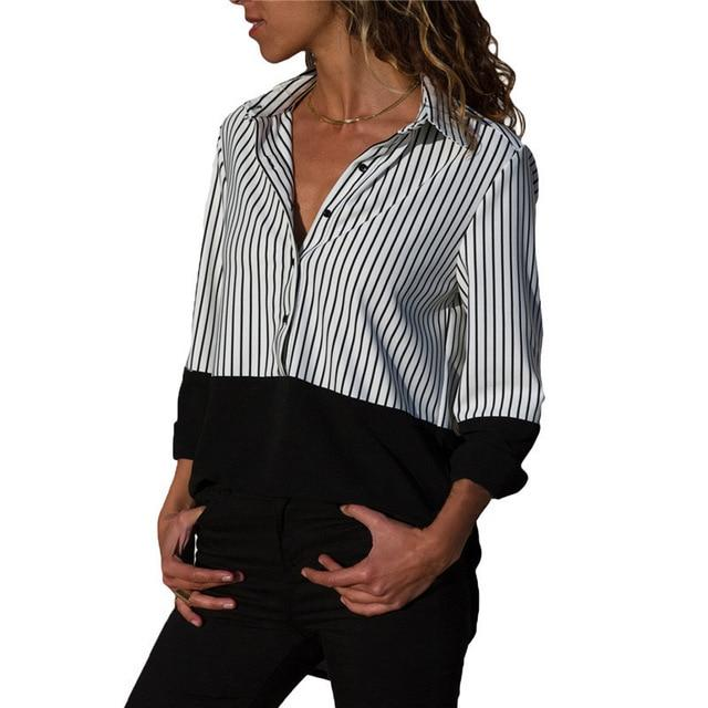 Women Blouses 2018 Striped Blouse Womens Tops And Blouses Long Sleeve Turnrricdress-rricdress