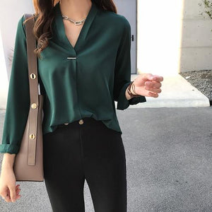 Now Autumn Spring Women Tops and Blouses Chiffon Blouse Long Sleeve Shirtsrricdress-rricdress