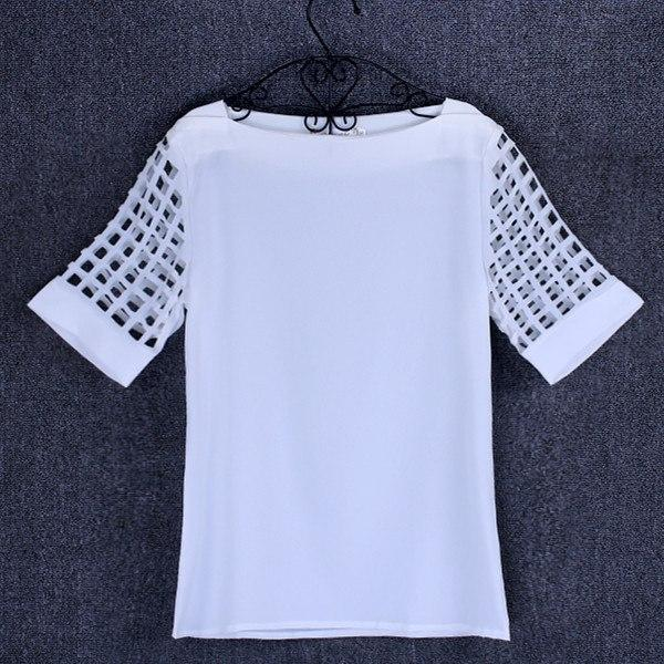 Summer Chiffon blouse women Hollow Short sleeve shirt Plus Size Casual Topsrricdress-rricdress