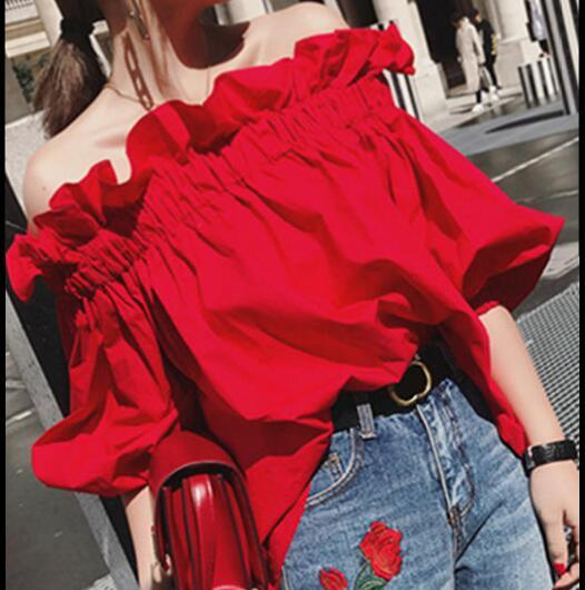 Off Shoulder Tops Women Summer 2019 Fashion Slash Neck Blouse Redrricdress-rricdress