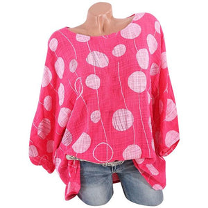 Women Plus Size Long Sleeves top Casual womens O-Neck Polka Dot Blouserricdress-rricdress