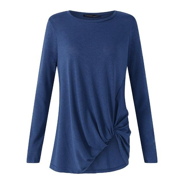 2018 Women O Neck Long Sleeve Flod Solid Casual Blouse Looserricdress-rricdress