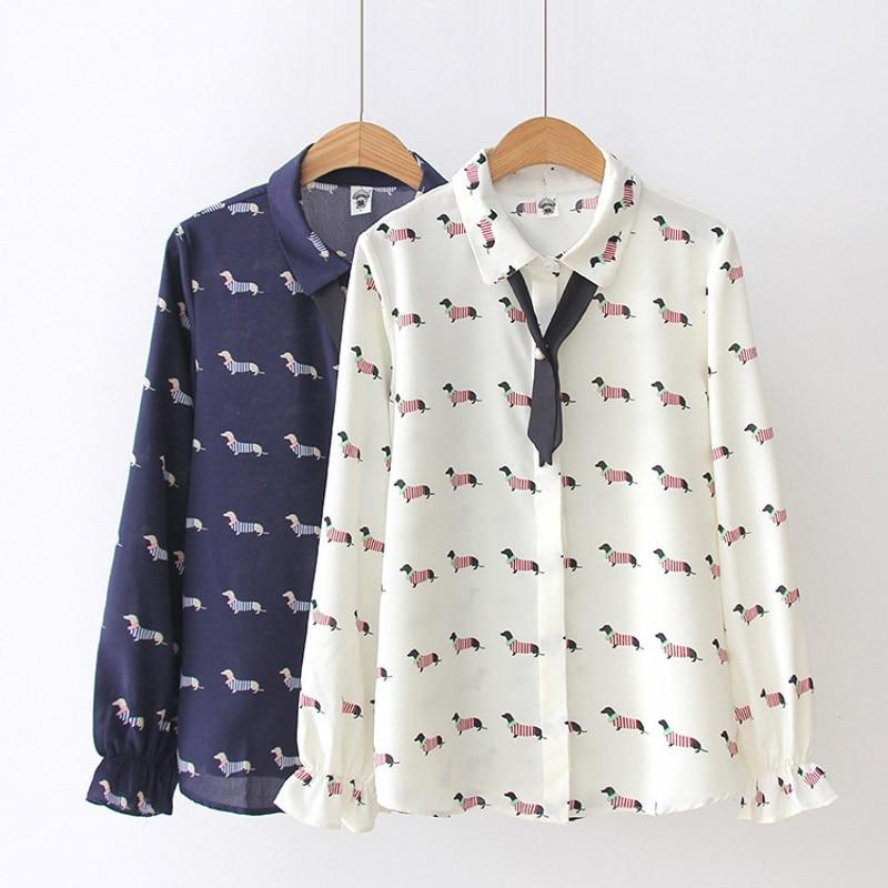 Cute Dachshund Print Women Blouse Chiffon Shirt Preppy Style Dog Print Turn-downrricdress-rricdress