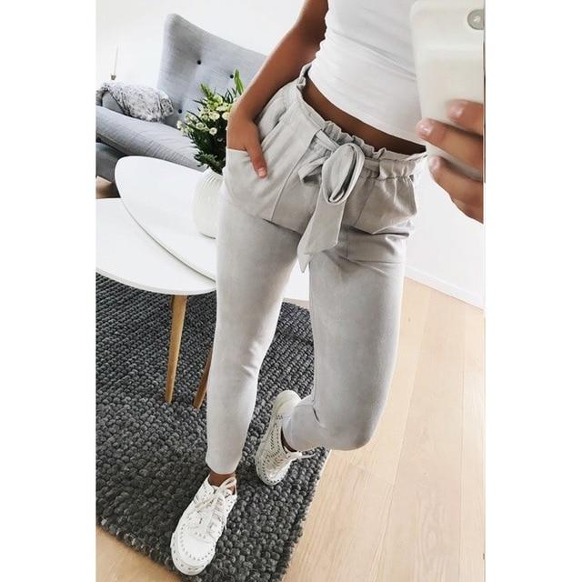 New 2018 Fashion women mid waist suede taupe Casual female trousers winterrricdress-rricdress