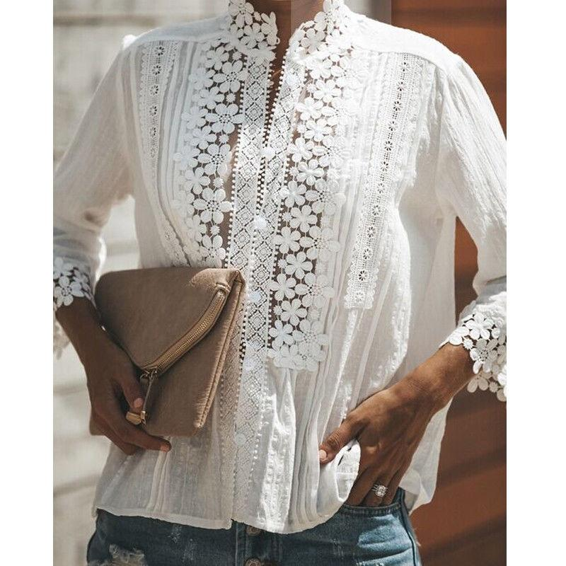 New Fashion Women Cotton Lace Hollow out Blouse Ladies Loose White Casualrricdress-rricdress