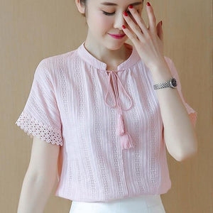 100% Cotton Shirt Short Sleeve 2019 Summer Women Blouses Tops Solid Casualrricdress-rricdress