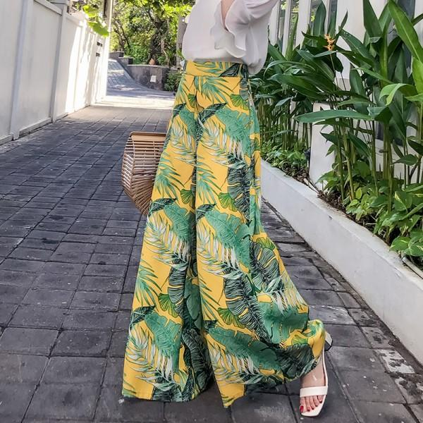 Fashion high waist pants 2018 summer women's boho style printed trousers casualrricdress-rricdress