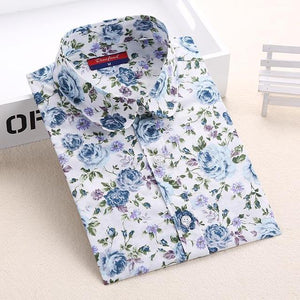 2018 Floral Women Blouses Long Sleeve Shirt Cotton Women Shirts Cherry Casualrricdress-rricdress