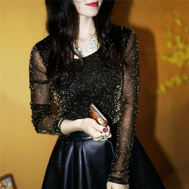 Sexy Shining See Through Mesh Blouse Elegant Women Transparent Shirt Fashion Ladiesrricdress-rricdress