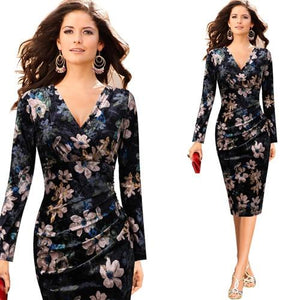 Womens Elegant V Neck Ruched Floral Print Work Casual Cocktail Partyrricdress-rricdress