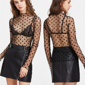 Women blouse 2018 Lace black white See-through Sheer Mesh Blouse Longrricdress-rricdress