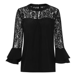 2017 Summer Women Top Long Sleeve Elegant White Lace Blouse Femme Hollowrricdress-rricdress