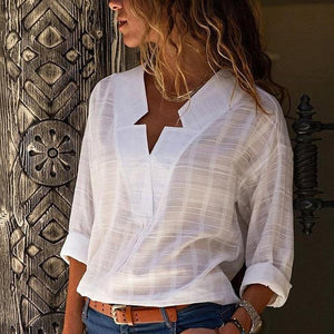 White V-neck Women's Shirt Cotton Linen Office Lady Long Sleeve Feminine Blouserricdress-rricdress
