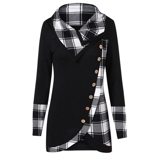Womens Tops And Blouses Vintage Button Plaid Long Sleeve Blouse 2018 Womenrricdress-rricdress