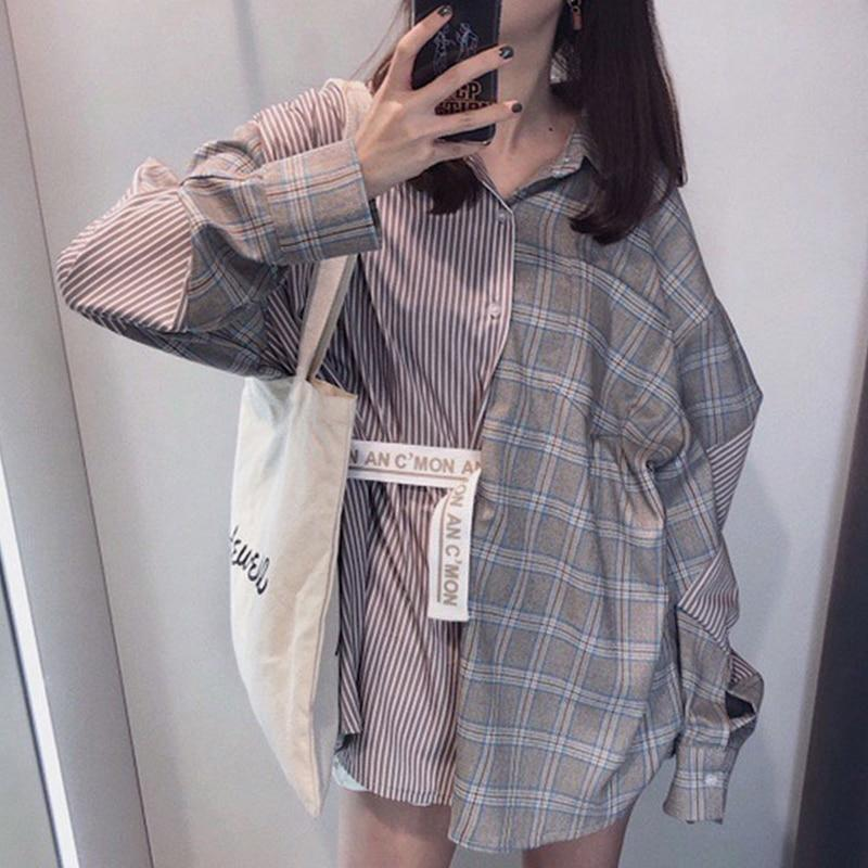 2019 New Summer summer Fashion Tide Plaid Patchwork Striped Turn-downrricdress-rricdress