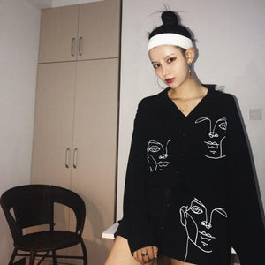 Blouse Shirt Female Cotton Solid Cartoon Botton Shirts White Black Color Womenrricdress-rricdress