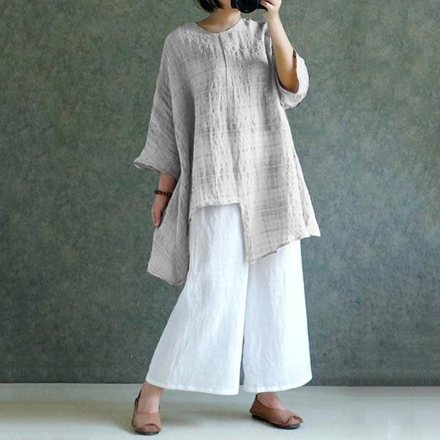 Women Retro Linen Blouse Asymmetrical Tops 2019 Summer Long Sleeve Plaidrricdress-rricdress