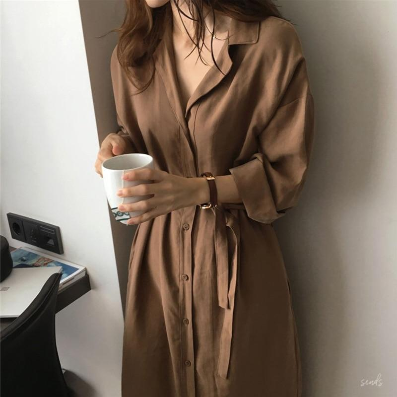 2019 New Summer Fashion Tide Caramel Colour Turn Down Collar Longrricdress-rricdress