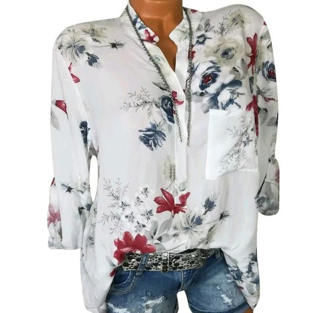 2019 New Women Autumn Long Sleeve V Neck Women Blouse Floralrricdress-rricdress