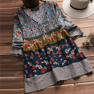 2018 Women Autumn Blouse Vintage V Neck 3/4 Sleeve Shirt Female Cottonrricdress-rricdress