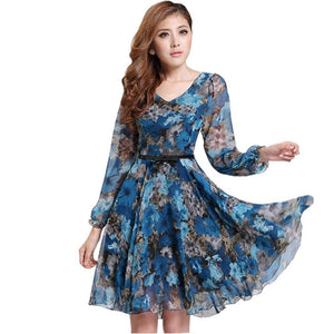 2019 Women's Floral Print Vintage Dress Plus Size Sweet Lady Long Sleeverricdress-rricdress