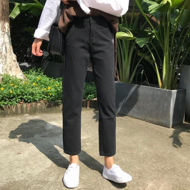2018 The New Korean Version Ulzzang Loose High Waist Leisure Straight Slimrricdress-rricdress