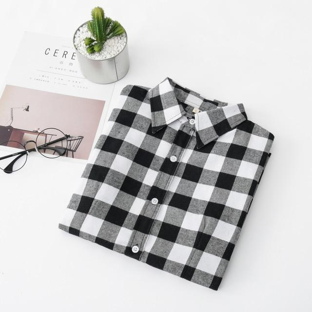 2019 Women Blouses Brand New Excellent Quality Flannel Red Plaid Shirt Womenrricdress-rricdress