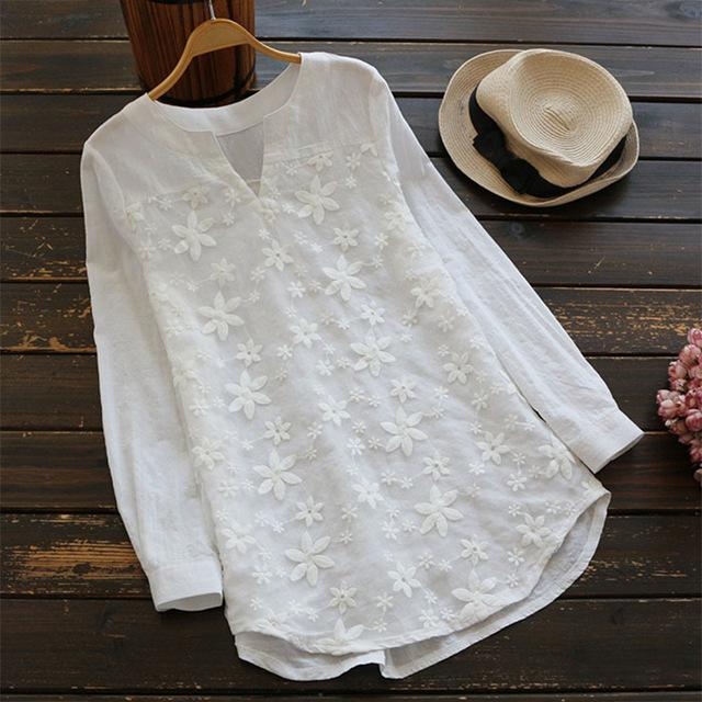 2019 Spring Women V Neck Embroidery Blouse Autumn Tunic Blusas Elegantrricdress-rricdress