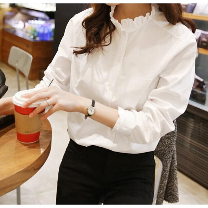 100% cotton Women White Shirt Ruffled Collar Plus Size Women Work Blouserricdress-rricdress